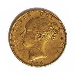 Gran Bretaña 1 Libra/Pound. 1844. Londres. MBC-. (Tipo Escudo). AU. 7,988gr. Ø22mm. KM. 736.1