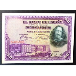 España 50 Ptas. 1928. EBC+. (Nuevo, con doblez). (Sin Serie-Velazquez). EDF. B113 - PIK. 75a. (Puesto en circulacion durante e