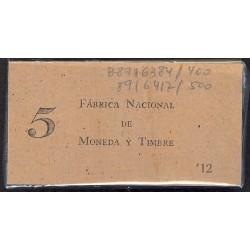 España 50 Cts. 1937. SC. (Serie B)-(PAQUETE con 100 Billetes)-(19 y 81 Correlativos). EDF. C42 - HG. 416. (Con tapa original F