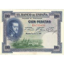 España 100 Ptas. 1925. EBC-. (Nuevos con lev.doblez/ondulación). (Serie E-PAREJA Correlativa-Felipe II). PIK. 69c - EDF. C1