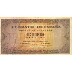 España 100 Ptas. 1938. MBC-. (Doblez.Entero). (Serie A-Casa del Cordon). PIK. 113a - HG. 485