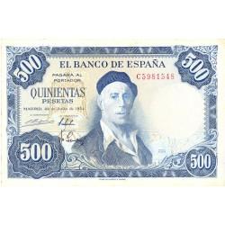 España 500 Ptas. 1954. MBC-. (Marquitas y dobleces.Entero). (Serie C-Zuloaga). EDF. D69 b - PIK. 148a