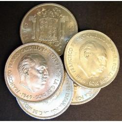 España 5 Ptas. 1949. *19*50. EBC/EBC+. (Marquitas). CUNI. 15gr. (LOTE de 5 Monedas). Ø32mm. HG. 304 - CT. 48