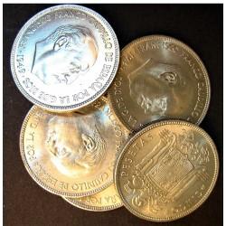 España 5 Ptas. 1949. .*19*50. SC-. (Nueva con carateristicas de la acuñación). CUNI. 15gr. (LOTE: 5 Monedas de 5 ptas.). Ø32mm