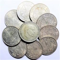 España 100 Ptas. 1966. BC+/MBC-. AG. 190gr. (Peso unitario: 19 gr.). (LOTE: 10 Monedas de 100 Ptas.). Ø34mm