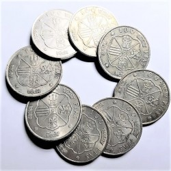 España 100 Ptas. 1966. BC+/MBC-. AG. 152gr. (Peso unitario 19 gr.). (LOTE: 8 Monedas de 100 Ptas.). Ø34mm