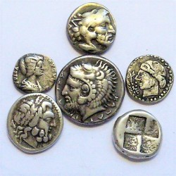ZZ-LOTE/S Varios GRIEGA/S. EBC/EBC+. 43,4gr. (6 Bonitas Monedas FALSAS en Plata)