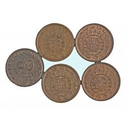 Angola 50 Ctvo. 1953. 1961. SC-/SC. NI/AE. 4gr. (5 Mdas.-1953,54,57,58, y 61). Ø20mm. KM. 75