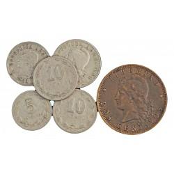 Argentina LOTE. 1891. 1937. EBC. (6 Monedas:2, 5(3), y 20 ctv.). KM. 8,34,35 y 11