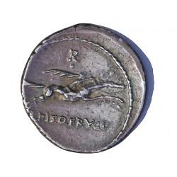 Roma Republica CALPURNIA Denario. -90. -89. EBC+. Anv: Cabeza laureada de Apolo a dcha..Detras valor *. A debajo menton. Rev: