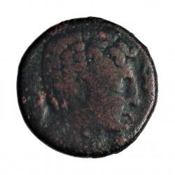 Hispania Antigua ILTIRTA As. MBC-. Anv: Cabeza viril a dcha., delante y detras delfin. Rev: Jinete a dcha.. AE. 10,3gr. Ø24mm