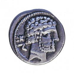 Hispania Antigua BOLSCAN Denario. EBC. (Algo limpiada). Anv: Cabeza Barbada a dcha., detras letras bericas BoN. Rev: Jinete con