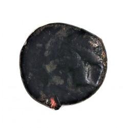 Hispania Antigua CARTAGO NOVA. ¼ CALCO. MBC. Anv: Cabeza a iqda. Rev: Flor de loto. AE. 1,7gr. Ø13mm