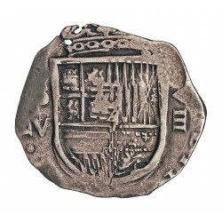 España 8 Reales. 1612. (161)2. S-(Sevilla). V/B. MBC+. RARO/A. (Se aprecia el 2 del (161)2, y claramente la V sobre B del ensay