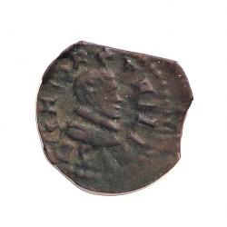 España 1 Dinero. 1598. 1621. Granollers. MBC. (Cospel lev.faltado). Anv: Busto pequeño del monarca a dcha. ley.:+PHILI(PVS DG I