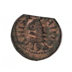 España 1 Dinero. 1598. 1621. Granollers. MBC+. (Cospel lev.faltado). Anv: Busto pequeño del monarca a dcha. ley.:+(P)HILI(PVS D