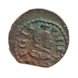 España 1 Dinero. 1598. 1621. Granollers. EBC. (Acuñ. desplazada en rev.). Muy bonita. Anv: Busto pequeño del monarca a dcha. l