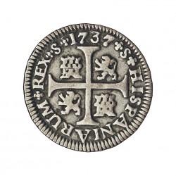 España ½ Reales. 1737. S-(Sevilla). P. MBC+. AG. 1,69gr. Ø10,5mm. CT. 1267