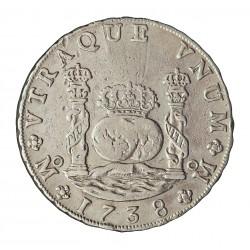 España 8 Reales. 1738. Mº-(Mejico). MF. MBC/MBC+. (Marquitas). (Tipo Columnario). AG. 26,64gr. Ø38mm. CT. 701