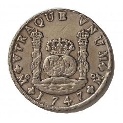 España 8 Reales. 1747. Mº-(Mejico). MF. MBC. (Tipo Columnario). (Última fecha de este reinado). AG. 26,5gr. Ø39mm. CT. 710
