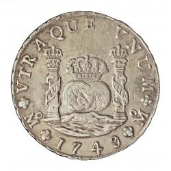 España 8 Reales. 1749. Mº-(Mejico). MF. MBC+. (Tipo Columnario). AG. 27,07gr. Ø38mm. CT. 288