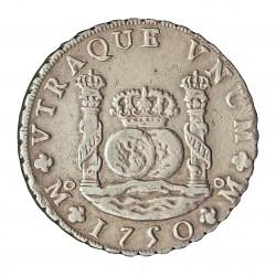 España 8 Reales. 1750. Mº-(Mejico). MF. EBC-. (Insig.marquita). (Tipo Columnario). AG. 27,067gr. Ø39mm. CT. 289
