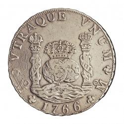 España 8 Reales. 1766. (Mº)-Mejico. MF. MBC/MBC+. (Lev.falta de presion a las 8 h.). (Tip.Columnario). AG. 26,067gr. Ø39mm. CT.