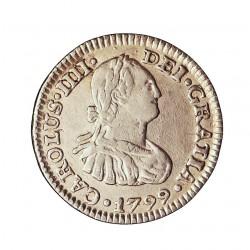 España ½ Reales. 1799. Mº-(Mejico). F.M. MBC/MBC+. AG. 1,69gr. Ø16mm. CT. 1196 - KM. 72