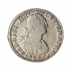 España 1 Reales. 1807. (Mº)-Mejico. T.H. MBC-/MBC. AG. 3,25gr. Ø20mm. CT. 1069