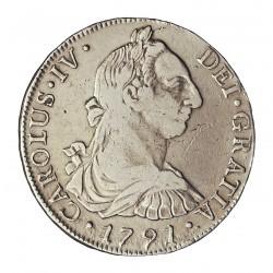 España 8 Reales. 1791. Sº(Santiago de Chile). D.A. MBC. MUY RARO/A. AG. 26,7gr. Ø38mm. CT. 690