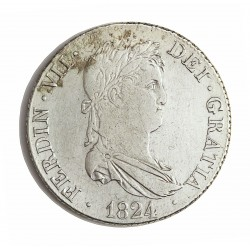 España 4 Reales. 1824. Madrid. A.J. MBC+/EBC-. (Limpiada). MUY ESCASO/A. AG. 13,3gr. Ø31mm. CT. 617