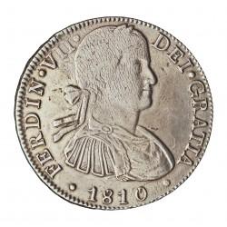 España 8 Reales. 1810. Mº-(Mejico). H.J. MBC+/EBC-. (Zona de plata agria y lev.falta presión anv.y rev..Bonita). ESCASO/A. AG.