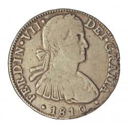 España 8 Reales. 1810. Mº-(Mejico). H.J. MBC. ESCASO/A. AG. 26,73gr. Ø39mm. CT. 495