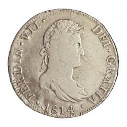 España 8 Reales. 1814. Mº-(Mejico). J.J. MBC-/MBC. (Finas rayitas anv.). MUY ESCASO/A. AG. 26,77gr. Ø39mm. CT. 503