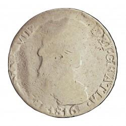 España 8 Reales. 1816. Zª-(Zacatecas). A.G. RC. (MBC para este tipo de acuñaciónes descuidadas). MUY RARO/A. AG. 25,6gr. Ø38mm