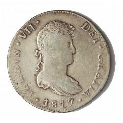 España 8 Reales. 1817. Mº-(Mejico). JJ. BC+/MBC-. (Falta de presión en ley.anv.y rev.). AG. 26,74gr. Ø39mm. CT. 506