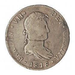 España 8 Reales. 1818. Mº-(Mejico). JJ. MBC-/MBC. ESCASO/A. AG. 26,78gr. Ø40mm. CT. 507