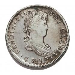 España 8 Reales. 1820. Zª-(Zacatecas). AG. MBC. ESCASO/A. AG. 26,58gr. Ø40mm. CT. 588
