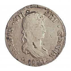 España 8 Reales. 1821. Durango. C.G. MBC-. (EBC-/EBC para este tipo de moneda). MUY ESCASO/A. AG. 26,8gr. Ø38mm. CT. 430
