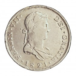 España 8 Reales. 1821. Gª-(Guadalajara). F.S. MBC/MBC+. MUY ESCASO/A. AG. 26,93gr. Ø40mm. CT. 438 a