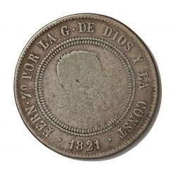 "España 10 Reales. 1821. Santander. L.T. BC+. (Tipo ""Resellado""). AG. 13,22gr. Ø34mm. CT. 620"