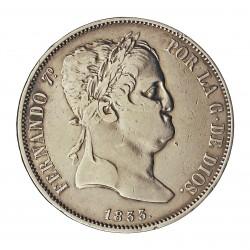 España 20 Reales. 1833. M-(Madrid). D.G. MBC-/MBC+. RARO/A. AG. 26,9gr. Ø37mm. CT. 365
