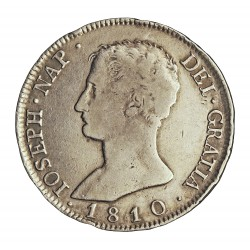 España 8 Reales. 1810. Madrid. I.G. MBC-/MBC. MUY RARO/A. AG. 26,7gr. Ø39mm. CT. 32