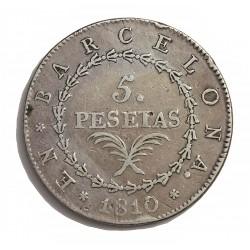España 5 Ptas. 1810. Barcelona. MBC-/MBC. AG. 26,7gr. Ø40mm. CT. 14