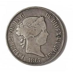 España 1 Escudos. 1867. Madrid. MBC-/MBC. AG. 12,96gr. Ø29mm. CT. 242 - HG. 481