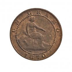 España 1 Cts. 1870. Barcelona. OM. SC/SC-. (Nueva.Leve totno/patina). (Imagen tipo). CU. 1gr. Ø15mm. CT. 23