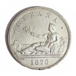 España 5 Ptas. 1870. *18*70. Madrid. SNM. EBC-. (Leves marquitas campo.Insig.gpcto.en listel). AG. 25gr. Ø37mm. HG. 110