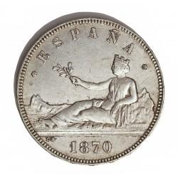 España 5 Ptas. 1870. *18*70. Madrid. SNM. MBC+. (Insig.gpcto.en listel. Muy bonito). AG. 25gr. Ø37mm. HG. 110