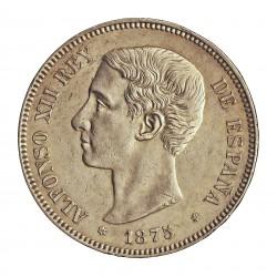 España 5 Ptas. 1875. *18*75. Madrid. DEM. EBC-/EBC. (Marquitas..Muy bonita). (Imagen tipo). AG. 25gr. Ø37mm. CT. 24 - HG. 126