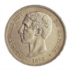 España 5 Ptas. 1876. *18*76. Madrid. DEM. EBC. (Marquitas). AG. 25gr. Ø37mm. HG. 127